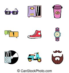 Rest icons set, cartoon style