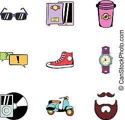 Rest icons set, cartoon style