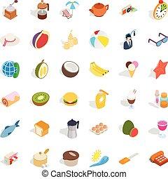 Rest icons set, isometric style