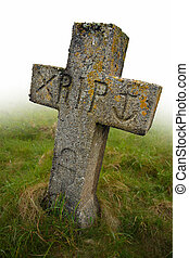 Rest in peace - Gravestone with the initials RIP carved into...