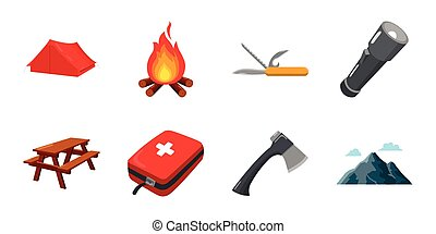 Rest in the camping icons in set collection for design. Camping and equipment vector symbol stock web illustration.