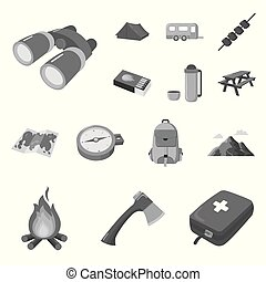 Rest in the camping monochrome icons in set collection for design. Camping and equipment vector symbol stock web illustration.