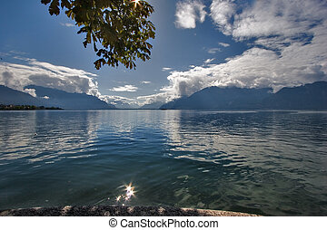 Rest -  Lake Leman in fine autumn day