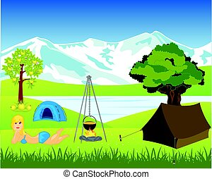Rest on nature beside lake - Tents and campfire ashore lake...