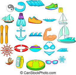 Rest on the yacht icons set, cartoon style