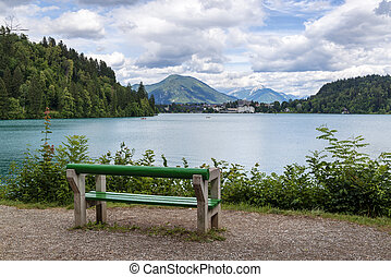 Rest place on the Bled lake in Slovenia