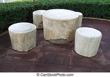 Rest table set in the park