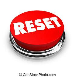 restablecer, botón, -, rojo