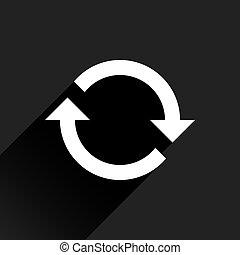 restablecer, plano de fondo, señal, flecha negra, blanco, icono