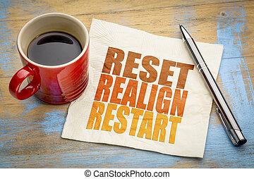 restablecer, reiniciar, servilleta, realign, concepto