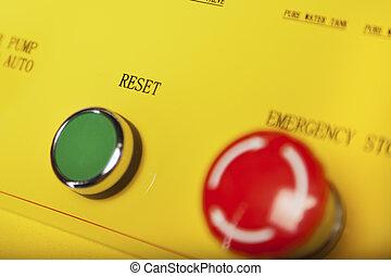 restablecer, y, parada, interruptores