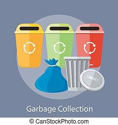 restafval, en, recycling, blikjes, verzameling