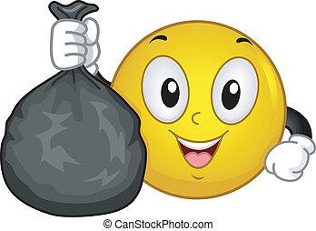 restafval, het verzamelen, smiley