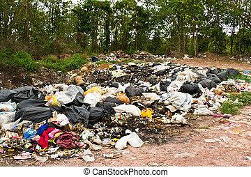 restafval, in, landfill