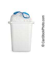restafval, plastic zak, groenteblik, witte , afval
