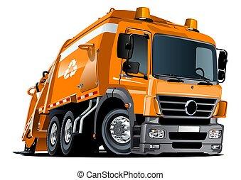 restafval, vrijstaand, vrachtwagen, achtergrond, witte , spotprent