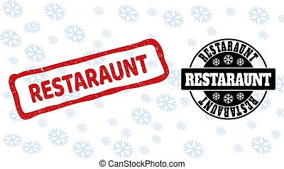 Restaraunt Grunge and Clean Stamp Seals for New Year