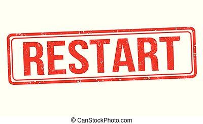 Restart grunge rubber stamp on white background, vector ...