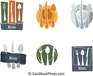 restaurace, emblém, s, lžíce, a, vidlice