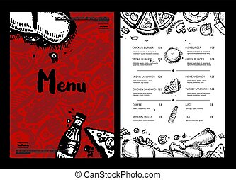 restaurace, hustě food, menu, s, cena