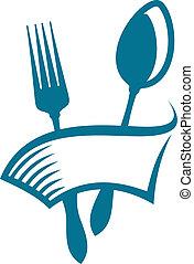 restaurace, nebo, jídelna, ikona