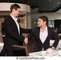 restaurace, povolání, úspěšný, setkání, muži, dva, pohled, druhý, ruce, každý, otřes