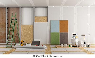 restauración, viejo, habitación, arquitectónico