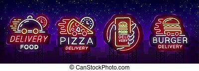 restauracja, cafes., komplet, chorągiew, pizza., jadło, pizzerias, noc, neon, logotype, hamburger, doręczenie, neon, jasny, wektor, zbiór, lekki, tablica ogłoszeń, reklama, signs., illustration.