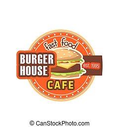 restauracja, dom, cheeseburger, hamburger, wektor, ikona