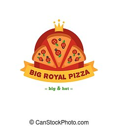 restauracja, gatunek, znak, jasny, wektor, logo., pizza
