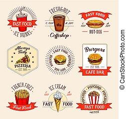 restauracja, jadło, menu, ikony, mocny, wektor