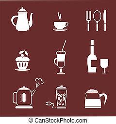 restauracja, kawiarnia, ikona