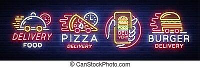restauracja, kawiarnie, komplet, dining., chorągiew, pizza., jadło, pizzerias, ilustracja, noc, neon, logotype, hamburger, doręczenie, jasny, wektor, zbiór, lekki, reklama, signs., styl