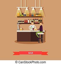 restauracja, napój, -, wizytatorzy, piwo, wektor, wewnętrzny, bar., pień
