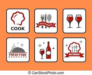 restauracja, pojęcie, komplet, ikony