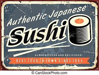 restauracja, produkty morza, sushi, japończyk, znak, tradycyjny, cyna, retro, szablon