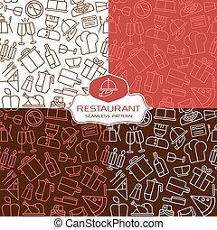 restauracja, seamless, wzory, w, cienka lina, styl