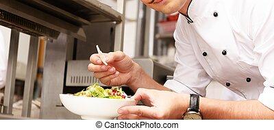 restauracja, smakosz, młody, jadło, szef, kok, kuchnia
