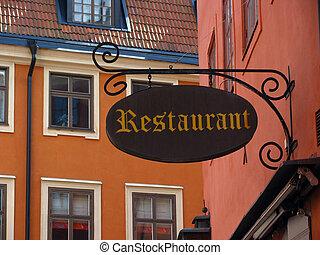 restauracja, stary, znak