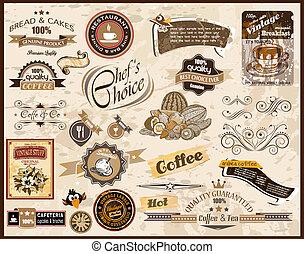 restauracja, style, kawa, etykiety, premia, &, jadło,...