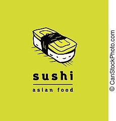 restauracja, sushi, komplet, ikony