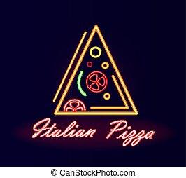 restauracja, szyld, neon, ulica, pizza, włoski