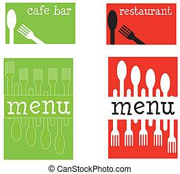 restauracyjny jadłospis, covers., zabawa, kawiarnia, albo