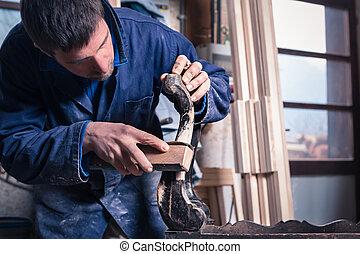 restaurando, mobília, carpinteiro, madeira