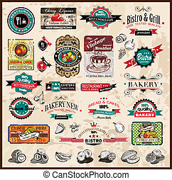 restaurang, bistro, olik, etiketter, premie, &, mat, årgång, utrymme, text., kollektion, stilar, co, kvalitet