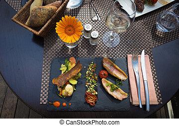 restaurang, fish, fransk, hälsa, skål, tjänat