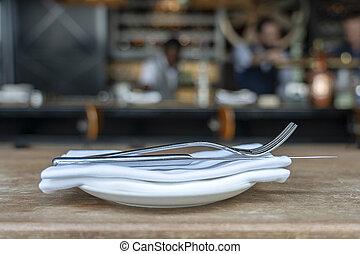 restaurang, gaffel, tallrik, trä, servett, närbild, kniv, ...