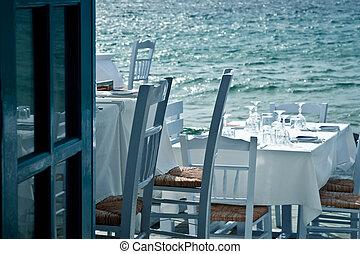 restaurang, hav