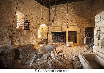 restaurang, kök, medeltida, område