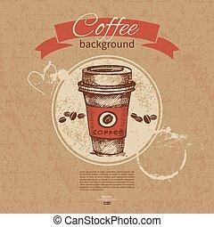 restaurang, kaffe, meny, hand, bakgrund., cafe, årgång, ...
